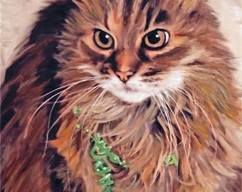 Cat Painting Custom Portrait on Canvas Art from Photo Hand Painted & Stretched