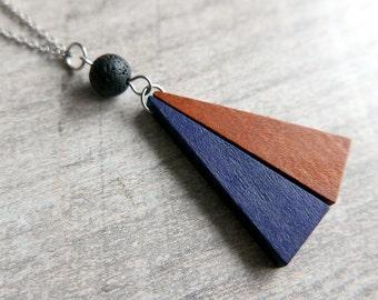 Triangel Essential Oil Diffuser Necklace/Geometric/Minimalist/Wood/lava