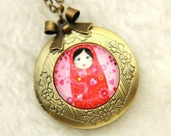Necklace locket Russian doll matriochkas 2020m
