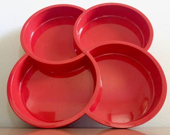 Vintage Dansk Divided Serving Tray by Gunnar Cyren -- Red