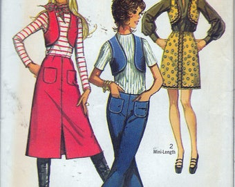 "Vintage 1970 Simplicity 9173 Retro Skirt In Two Lengths, Vest & Hip Hugger Pants Sewing Pattern Size 11/12 Bust 32"" UNCUT"