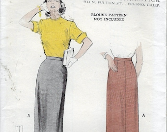 Vintage 1951 Butterick 5924 Three Gore Wiggle, Pencil Skirt Sewing Pattern Size Waist 26""