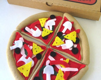 Felt Pizza, Pretend Play Pizza, Felt Pizza Slice, Whole Pizza Toy, Pizza Felt Food