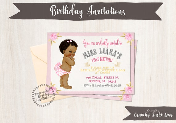 Baby Girl First Birthday Party Invitations, African, Black, Girl Birthday Invitations, First Birthday, Printable Invitations, Pink 105