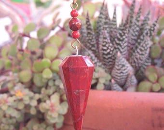 Red BRECCIATED POPPY JASPER Pendulum, Root Chakra, Aligns, Earth Energy, Ground, Handmade in U.S.A.