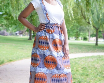 NEW! DADIRAI African Print Skirt With Braces, Ankara Skirt, African Fashion, African Clothing by Afrocentric805