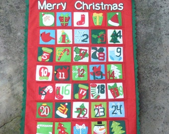 Large Advent Calendar Felt Christmas Pocket Countdown Santa Gift Packages