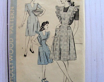 Coverall Apron Dress | Vintage 1940's | Misses Size 20 Bust 38 | Hollywood Pattern 1210 | Unprinted Factory PreCut Unused Sewing Pattern