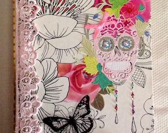 Day of The Dead Dia de los Muertos Altered Notebook