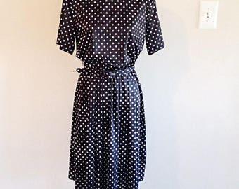 Adorable Vintage Polka Dot Secretary Dress 1980s