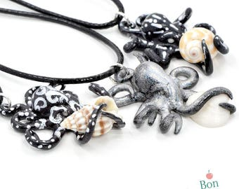 Black Silver and Holographic Octopus Holding Miniature Seashell Necklace Pendant, Octopus Jewelry, Polymer Clay Octopus Pendant