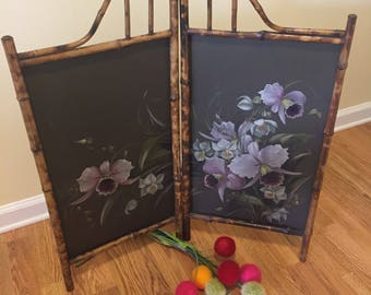 """VICTORIAN BAMBOO SCREEN, 18TH Century Tole Painted Screen, English Victorian, 28"""" X 32.5"""", Fireplace, Table Top Screen, at Ageless Alchemy"""