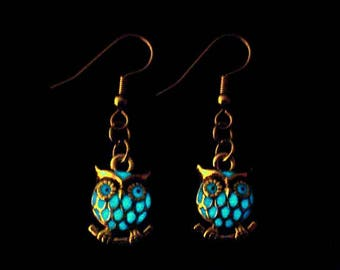 TIny Owl Earrings Glow In The Dark Antique Silver (glows aqua blue)