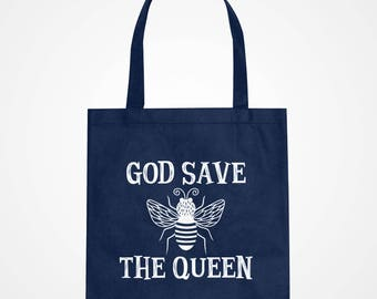 Tote God Save the Queen Black Canvas Carryall Mothers Day Fabric Tote Bag #3351