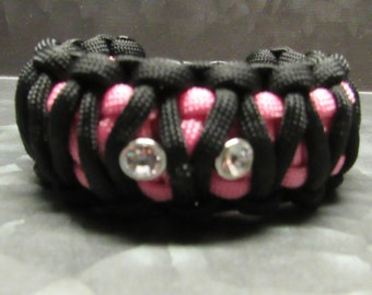 SALE Pink & black paracord bracelet with rhinestones - great for camping, hiking, climbing, outdoors, travel, adventure, survival wanderlust