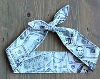 Money Rosie Wrap, Knotted Hair Tie, Rockabilly Headband, Retro Self Tie Hair Scarf, Bow, Bandana, United States Currency