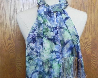 Long crepe silk scarf with fringe hand dyed in purple and green is ready to ship, silk scarf #545