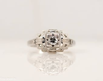 0.10 Carat Transition Cut Diamond Antique Engagement Ring 18k White Gold Vintage