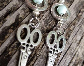 Manifest Mint Silver Hair Stylist Scissor Charm Earrings