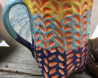 Ceramic Mug, Hand Built Ceramic Mug, Blue Ceramic Mug, Yellow Ceramic Mug, Multicolored Ceramic Mug, Unique Handmade Ceramic Mug, Gift Idea