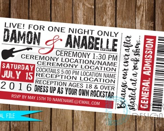 Concert Ticket Invitation, Rock and Roll Wedding Invitation, Rock Concert Invitation, Music Wedding Invitation, Concert ticket invitation