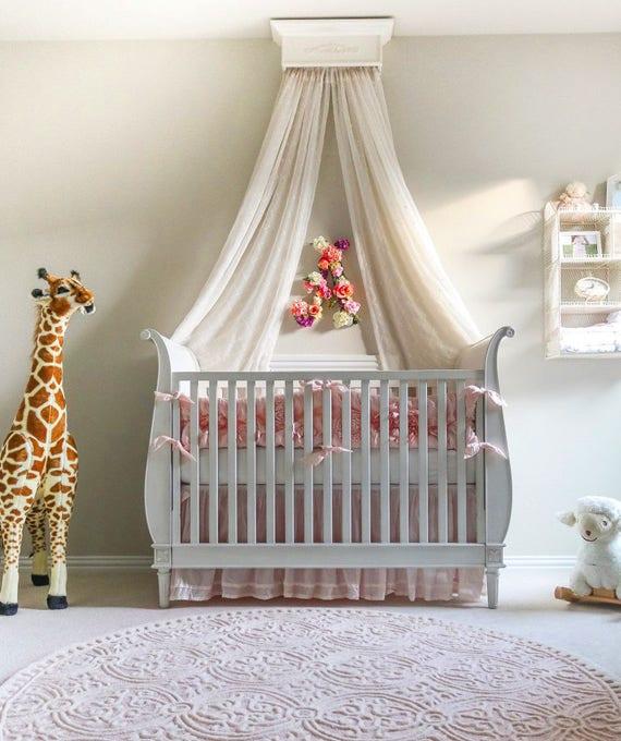 Bed Crown Canopy Crib Crown Nursery Design Wall Decor: Crib Canopy Bed Crown Canopy Nursery Design Baby Girl