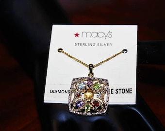 Sterling Silver Multi Stone Citrine Amethyst Aquamarine Garnet Necklace NC9