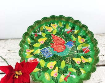 Vintage Plastic Scalloped Holiday Tray