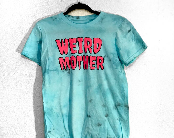 Blue weird Mother Hand Dyed shirt with Hot Pink and Black Ink.