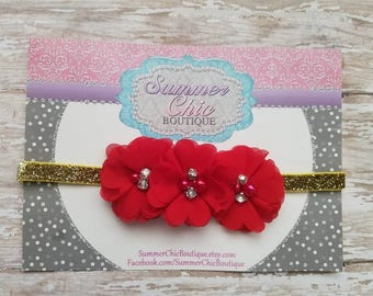 Red Baby Headband, Christmas Headband, Red and Gold,  Infant Headband, Newborn Headband, Red Christmas Headband Chiffon and Pearls Flower