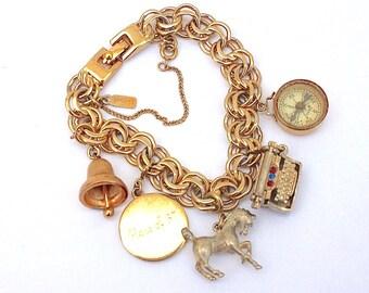 Monet Charm Bracelet - Vintage Compass, Bell, Horse, Mechanical Typewriter Charms