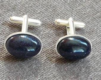 Blue Cuff Links Goldstone Silver Plated.Oval 18 x13 mm. Gift for Him.Wedding,Fashion Cufflinks.Blue Goldstone Cufflinks.
