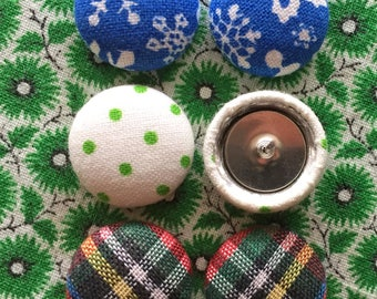 Christmas Button Earrings / Fabric Covered / Holiday Gift / 3 Pairs / Wholesale Jewelry / Red and Green / Hypoallergenic / Stocking Stuffers