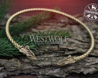 Viking Dragon Neck Torc - Midgard Sea Serpent --- Jormungand/Gold/Norse/Celtic