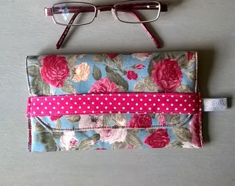 Duck Egg Blue Rose and Hubble Floral Fabric Glasses Case / Specs case / Pouch / Purse / Bag / Eye glass case