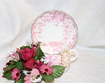 Vintage Richmond Fine Bone China Teacup & Saucer - Made in England - Pink Floral - English Tea Cup