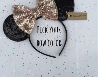 Rose Gold Minnie Mouse Ears, Rose Gold Mickey Mouse Ears, Disney Headband, Disney Gift, Minnie Mouse Headband, Disney Birthday Headband