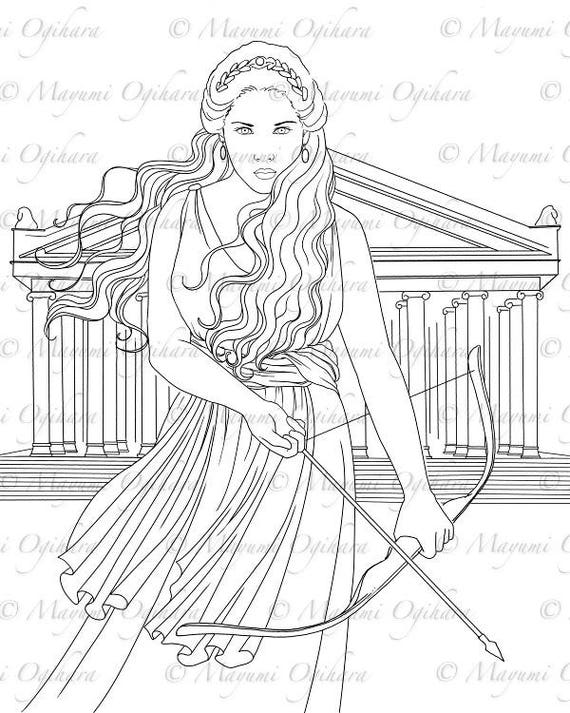 Artemis Digital Stamp Colouring Page Printable Instant