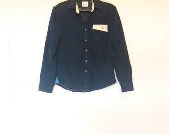 Corduroy Shirt Vintage Fleece Lined Navy and Cream Corduroy Button Up Long Sleeve Cord Shirt Soft Lining Shirt Vintage Cord Button Down