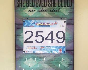 "Race Medal Holder Bib Hanger ""She Believed She Could So She Did "" Medal Hangers. Race Bib Hanger. Wood Wall Mounted Organizer. CUSTOMIZATiON"