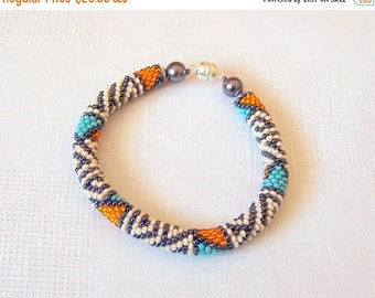 15% SALE Beadwork - Beaded Crochet Bracelet - Colorful - Abstract Beaded Bangle - Round Chunky Bangle - Geometric Design Bracelet