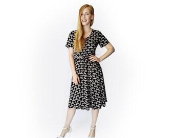 Black dress, Midi dress, Summer dress women, Motorcycle dress, Viscose dress, Sleeve dress, party dress, Casual dress, Unique dress