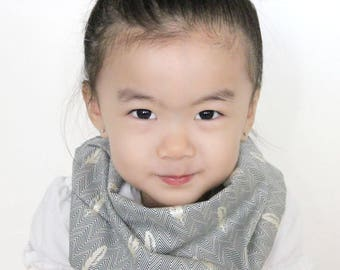 """Modern Bib (Blue Feather Shimmer) All in One Scarf & Bib """"Scabib"""" TM for babies or toddlers"""