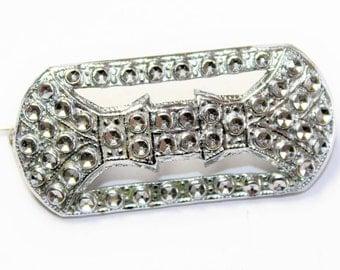 Sparkly Pressed Steel Staybright Bright Cut Brilliant Cut Silver Coloured Small Rectangular Vintage Brooch (c1930s) - Wedding