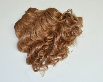 Super soft curled weft mohair, weft for mohair wig dolls, light brown