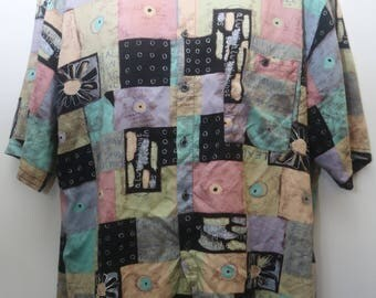 "Rare 90's Vintage ""FELDINI"" Abstract Patterned Short-Sleeve Colorful Funky Shirt Sz: 2X (Men's Exclusive)"