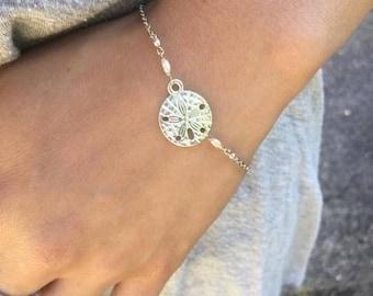 Silver sand dollar bracelet with tiny freshwater pearls, Sand dollar bracelet, Sand dollar jewelry, Sea biscuit bracelet, Silver sea biscuit