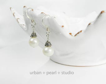Sterling Silver Freshwater Pearl Earrings Silver Bali Bead Cap On 7mm Real Pearl Drop Earrings
