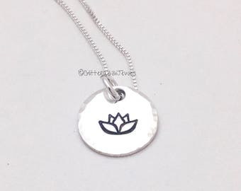 Lotus Stamp Sterling Silver Disc Pendant Charm Necklace Yoga Mindful Living Mantra Necklace No Mud No Lotus Lifestyle Everyday Jewelry Gift