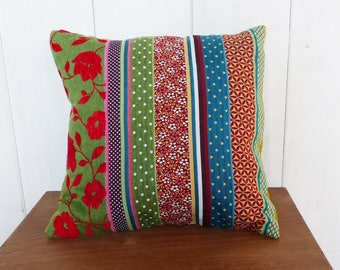 Cushion cover 40 x 40 cm Bohemian Patchwork green, turquoise, red Decoration.